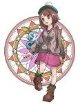 1girl ankle_boots bangs boots brown_eyes brown_footwear brown_hair buttons cardigan collared_dress cross-laced_footwear dress full_body gen_8_pokemon gloria_(pokemon) green_headwear green_legwear grey_cardigan hat highres lace-up_boots leg_up long_sleeves nishikuromori open_mouth pink_dress pokemon pokemon_(creature) pokemon_(game) pokemon_on_arm pokemon_swsh short_hair simple_background sobble socks standing standing_on_one_leg swept_bangs tam_o'_shanter white_background
