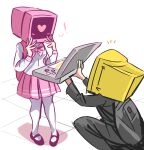 1boy 1girl absurdres breasts crt handheld_game_console highres nintendo_ds object_head one_knee original peargor photo-referenced pink_legwear pink_neckwear pink_skirt proposal shirt simple_background skirt white_background white_shirt