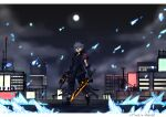 1boy boots bow_(weapon) building city crossbow crystal dual_wielding fingerless_gloves gloves glowing glowing_sword glowing_weapon heterochromia highres holding jacket kingdom_hearts kingdom_hearts_iii looking_at_viewer moon night night_sky rooftop serious silver_hair sky solo standing sword weapon yozora_(kingdom_hearts) zafa-02
