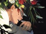 1boy black_hair bleeding blood blood_on_face bloody_nose blurry_foreground buzz_cut facial_hair flower from_side furrowed_eyebrows golden_kamuy green_eyes hat imperial_japanese_army injury kepi male_focus military_hat oku_(2964_okn) red_flower solo tsukishima_hajime white_flower
