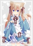 1girl animal_ear_fluff animal_ears bangs bloomers blue_dress blue_eyes blush bow brown_bow brown_hair cat_ears cat_girl cat_tail closed_mouth commentary_request dress eyebrows_visible_through_hair frilled_sleeves frills grey_background hair_between_eyes hair_bow highres holding holding_hair long_hair long_sleeves nakkar original ribbon-trimmed_sleeves ribbon_trim skirt_hold sleeves_past_wrists solo standing tail twintails twitter_username underwear very_long_hair white_bloomers wide_sleeves