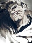 >:) 1boy black_eyes black_hair bleeding blood blood_from_mouth blood_on_face blood_splatter bloody_nose facial_hair goatee golden_kamuy hair_slicked_back hair_strand hand_on_own_head imperial_japanese_army looking_at_viewer male_focus messy_hair military military_uniform ogata_hyakunosuke oku_(2964_okn) scar scar_on_cheek scar_on_face solo teeth uniform