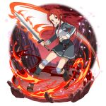 1girl belt black_legwear boots breastplate brown_belt brown_footwear collared_dress dress faux_figurine fire floating_hair full_body grey_dress hair_intakes highres holding holding_sword holding_weapon kneehighs long_hair long_sleeves looking_at_viewer official_art open_mouth pleated_dress red_eyes red_sky redhead shiny shiny_hair short_dress sky solo standing sword sword_art_online sword_art_online:_memory_defrag sword_mastery_academy_uniform tiese_schtrinen transparent_background very_long_hair weapon wing_collar