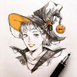 1girl :d bell clivenzu commentary earrings english_commentary freckles graphite_(medium) hair_bell hair_bun hair_ornament hat highres inktober jewelry jingle_bell looking_at_viewer mechanical_pencil mixed_media open_mouth orange_theme original pencil photo_(medium) portrait short_hair smile solo spot_color traditional_media witch_hat