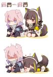 2girls absurdres anger_vein animal_ears armband bangs black_gloves blush brown_eyes brown_hair chibi closed_eyes dog_ears dog_girl dog_tail english_commentary girls_frontline gloves headphones highres jacket long_hair long_sleeves m4a1_(girls_frontline) multicolored_hair multiple_girls pink_hair purple_hair scarf shaded_face simple_background sitting st_ar-15_(girls_frontline) streaked_hair tail violet_eyes white_background yuutama2804