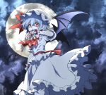 1girl absurdres ascot bat bat_wings blood bloody_clothes bloody_hands brooch commentary_request dark_background flat_chest frilled_shirt frilled_skirt frills full_moon hair_between_eyes hat highres jewelry looking_at_viewer mob_cap moon night puffy_short_sleeves puffy_sleeves purple_hair red_eyes red_neckwear remilia_scarlet shaded_face shimoda_masaya shirt short_hair short_sleeves skirt solo touhou white_headwear white_shirt white_skirt wings wrist_cuffs