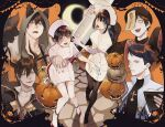 2girls 4boys :d animal_ears bangs black_hair black_headwear black_jacket black_legwear black_shirt blue_eyes book cat_ears cat_paws chinese_clothes collarbone collared_shirt crescent_moon cross demon_horns fangs full_body ginoza_nobuchika green_eyes hair_between_eyes halloween halloween_costume hat highres holding holding_book holding_syringe hood hood_up horns jack-o'-lantern jacket jiangshi kei_mikhail_ignatov kougami_shin'ya large_syringe long_hair looking_at_viewer moon multiple_boys multiple_girls necktie nurse nurse_cap ofuda one_eye_covered open_mouth orange_eyes outstretched_arms oversized_object pantyhose paws psycho-pass qing_guanmao red_eyes red_footwear red_neckwear scar_on_neck shimotsuki_mika shindou_arata shirt short_hair skirt sleeves_past_fingers sleeves_past_wrists smile syringe thigh-highs tsunemori_akane tsurime upper_body white_jacket white_legwear white_shirt yellow_eyes yokuni_(yokunill001121) zombie_pose