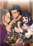 1girl 2boys asirpa beard black_hair black_shirt blue_eyes blue_headband bowl chopsticks closed_eyes eating facial_hair food golden_kamuy grey_hair grilling headband highres indoors kyosuke meat multiple_boys open_mouth page_number restaurant rice scan scar scar_on_face scar_on_nose shiraishi_yoshitake shirt sideburns sitting smile sugimoto_saichi table tongs