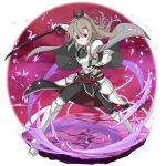 1girl armor armored_boots bangs black_bow black_pants boots bow breastplate cape character_request faulds faux_figurine floating_hair full_body grey_cape grey_hair hair_between_eyes hair_bow high_ponytail highres holding holding_sword holding_weapon knee_boots long_hair looking_at_viewer official_art pants red_eyes shiny shiny_hair shoulder_armor solo spaulders stance standing sword sword_art_online sword_art_online:_memory_defrag transparent_background v-shaped_eyebrows very_long_hair weapon white_footwear