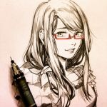 1girl :d bow clivenzu glasses graphite_(medium) hair_ornament highres kamishiro_rize long_hair looking_at_viewer mechanical_pencil open_mouth pencil photo_(medium) red_theme semi-rimless_eyewear signature smile solo spot_color tokyo_ghoul traditional_media under-rim_eyewear upper_body