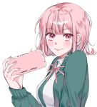 1girl bangs blush breasts closed_mouth collared_shirt commentary_request danganronpa eyebrows_visible_through_hair flipped_hair from_side green_jacket hair_ornament hairclip handheld_game_console hari_(harii_s2) highres holding holding_handheld_game_console hood jacket long_sleeves looking_at_viewer medium_hair nanami_chiaki nintendo_switch_lite open_clothes open_jacket pink_eyes pink_hair pink_neckwear pink_ribbon ribbon shirt simple_background smile solo super_danganronpa_2 upper_body white_background white_shirt