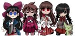 4girls absurdres aya_drevis bangs black_eyes black_hair black_legwear blood bloody_knife blue_dress bow braid brown_hair chainsaw closed_eyes cropped_legs dress empty_eyes flower hair_bow highres holding holding_chainsaw holding_flower holding_knife ib ib_(ib) kitchen_knife knife kurai_yonaka long_hair long_sleeves mad_father madotsuki mogeko_(mogeko_castle) mogeko_castle multiple_girls peargor pink_sweater red_eyes red_flower red_neckwear red_rose red_skirt rose shirt simple_background skirt smile sweater twin_braids white_background white_shirt yume_nikki