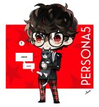 1boy amamiya_ren animal black-framed_eyewear black_hair black_jacket btmr_game cat chibi closed_mouth copyright_name glasses holding holding_animal holding_cat jacket long_sleeves male_focus morgana_(persona_5) pants persona persona_5 red_eyes school_uniform shuujin_academy_uniform signature simple_background star_(symbol) two-tone_background