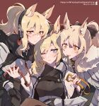 3girls animal_ear_fluff animal_ears arknights black_gloves black_sweater blemishine_(arknights) blonde_hair blue_eyes blush bow breasts chain character_name cloak closed_mouth collar commentary dog_collar eyebrows_visible_through_hair fur-trimmed_cloak fur_trim gloves hair_between_eyes hair_bow headphones highres horse_ears kyou_039 long_hair looking_at_viewer medium_breasts multiple_girls nearl_(arknights) open_mouth orange_eyes patterned_clothing polka_dot polka_dot_background ponytail red_background ribbed_sweater simple_background smile sweater turtleneck turtleneck_sweater twitter_username upper_body whislash_(arknights) white_cloak yellow_eyes