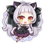 1girl :d animal_ear_fluff animal_ears bare_shoulders black_bow black_dress black_footwear black_sleeves blush bow brown_eyes brown_legwear cat_ears cat_girl cat_tail chibi commentary_request criss-cross_halter detached_sleeves dress earrings forehead grey_hair hair_bow halterneck hololive jewelry long_hair looking_at_viewer murasaki_shion open_mouth pantyhose pleated_dress shoes smile solo tail tail_bow tail_raised twintails upper_teeth v-shaped_eyebrows very_long_hair virtual_youtuber yukiyuki_441