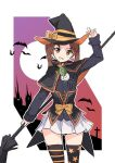 1girl adapted_costume adjusting_clothes adjusting_headwear arm_up arnagle bangs black_capelet black_headwear black_legwear blue_jacket bow broom brown_eyes brown_hair capelet castle commentary cowboy_shot full_moon girls_und_panzer grin halloween halloween_costume hat hat_bow holding holding_broom jacket kadotani_anzu long_hair long_sleeves looking_at_viewer military military_uniform miniskirt mismatched_legwear moon ooarai_military_uniform orange_bow outline parted_bangs pleated_skirt print_legwear purple_sky skirt smile solo standing star_(symbol) star_print striped striped_legwear thigh-highs twintails underbust uniform white_outline white_skirt witch witch_hat