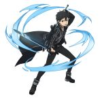 1boy bangs belt belt_buckle black_belt black_coat black_footwear black_gloves black_hair black_pants black_shirt buckle coat dual_wielding fingerless_gloves gloves hair_between_eyes highres holding holding_sword holding_weapon kirito long_sleeves looking_at_viewer male_focus official_art open_mouth pants shiny shiny_hair shirt short_hair solo sword sword_art_online sword_art_online:_memory_defrag transparent_background v-shaped_eyebrows weapon