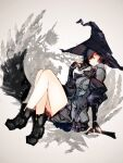 1girl bangs black_hair black_shorts black_skirt book breasts broom broom_riding corset crossed_legs fingerless_gloves gloves hair_between_eyes hat highres holding holding_book knees_up off_shoulder one_eye_covered original shiba_(s_hi_ba_) shoes short_hair shorts skirt solo white_eyes witch witch_hat