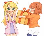 2girls :3 :d ahoge birthday blonde_hair blush bow box brown_hair casual closed_eyes commentary eyebrows_visible_through_hair facing_another fang gift green_eyes hair_bow hands_up happy heart_ahoge highres himesaka_noa holding holding_box hoshino_hinata jacket long_hair looking_at_another manse multiple_girls open_clothes open_jacket open_mouth orange_jacket purple_jacket purple_shirt red_bow shirt short_hair shorts simple_background skin_fang smile standing thick_eyebrows watashi_ni_tenshi_ga_maiorita! white_background white_shorts