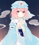 1girl blue_headwear blue_kimono blush closed_mouth commentary_request eyebrows_visible_through_hair gradient gradient_background hat highres hitodama japanese_clothes kimono long_sleeves looking_at_viewer mob_cap night night_sky partial_commentary pink_eyes pink_hair saigyouji_yuyuko short_hair sky smile solo standing star_(sky) touhou triangular_headpiece umi_(nana_spring) upper_body wide_sleeves