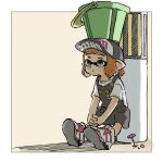 1girl apron badge baseball_cap black_apron bucket bucket_on_head button_badge closed_mouth domino_mask flower full_body hands_together hat highres inkling interlocked_fingers mask name_tag nishikuromori object_on_head orange_hair pen pink_flower pocket pointy_ears shirt shoes short_hair short_sleeves smiley_face sneakers solo splatoon_(series) splatoon_2 tentacle_hair tri-slosher_(splatoon) white_footwear white_shirt yellow_eyes