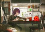 1girl bangs blurry blurry_foreground bottle bowl chair closed_mouth cup depth_of_field drinking_glass expressionless food from_side grey_eyes highres holding indoors kitchen kouka_(mrakano5456) long_sleeves medium_hair original pajamas plaid plaid_shirt plant potted_plant purple_hair rice shirt sitting solo table window