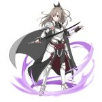 1girl armor armored_boots bangs black_bow black_gloves black_pants boots bow breastplate cape character_request closed_mouth faulds fingerless_gloves floating_hair full_body gloves grey_cape grey_hair hair_between_eyes hair_bow high_ponytail highres holding holding_sword holding_weapon knee_boots long_hair official_art pants red_eyes shoulder_armor smile solo spaulders standing sword sword_art_online sword_art_online:_memory_defrag transparent_background waist_cape weapon white_footwear