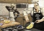 2boys absurdres awkward baking black_eyes black_hair blue_eyes chef chef_hat chef_uniform confused cooking cyborg egg english_commentary english_text eyepatch grey_hair hat highres make_america_great_again male_focus meme metal_gear_(series) metal_gear_rising:_revengeance multiple_boys muscle parody raiden shirt short_hair silver_hair steven_armstrong subakeye toned toned_male white_hair