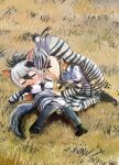 2girls aardwolf_(kemono_friends) aardwolf_ears aardwolf_print aardwolf_tail animal_ears animal_print armpits bangs black_hair blush bodystocking chibi closed_eyes counting day ear_blush elbow_gloves extra_ears eyebrows_visible_through_hair fuji_takanasu full_body furrowed_eyebrows gloves grass grey_hair hair_between_eyes highres kemono_friends kneeling knees_together_feet_apart long_hair long_sleeves looking_at_another lying multicolored_hair multiple_girls necktie nose_blush on_back on_ground open_mouth outdoors pantyhose plains_zebra_(kemono_friends) print_gloves print_legwear print_shirt shirt short_over_long_sleeves short_sleeves shorts skirt sleeveless sleeveless_shirt smile streaked_hair sweat tail two-tone_hair very_long_hair yellow_eyes zebra_ears zebra_print zebra_tail