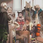 3girls 5boys animal_ears arknights bare_shoulders beard black_cape black_headwear black_jacket blue_gloves board_game brown_hair cape chess chess_piece commentary crossed_arms ears_through_headwear elysium_(arknights) facial_hair firefighter fox_ears from_side frostleaf_(arknights) fur-trimmed_cape fur_trim gloves grey_jacket grey_shirt headphones hellagur_(arknights) helmet high_collar highres horns jacket leopard_ears long_hair manjyufroth mask multiple_boys multiple_girls nail_polish noir_corne_(arknights) off-shoulder_shirt off_shoulder open_clothes open_jacket orange_eyes oripathy_lesion_(arknights) profile red_eyes red_nails saria_(arknights) shaw_(arknights) shirt short_hair silver_hair silverash_(arknights) single_horn thorns_(arknights) white_jacket