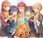 5girls ahoge animal_print arisugawa_natsuha bear_print black_dress black_eyes blonde_hair blue_hair blue_kimono bracelet brown_eyes brown_hair brown_jacket brown_skirt closed_eyes clothes_around_waist clothes_writing double_bun dress ear_piercing fang floral_print houkago_climax_girls_(idolmaster) idolmaster idolmaster_shiny_colors jacket jacket_around_waist japanese_clothes jewelry kimono komiya_kaho long_hair long_sleeves looking_at_viewer matsusatoru_kouji miniskirt morino_rinze multiple_girls obi orange_hair piercing plaid plaid_shorts plaid_skirt pleated_skirt red_eyes red_jacket redhead saijou_juri sash scarf school_uniform shared_scarf shirt short_hair short_twintails shorts skirt sleeves_past_elbows snowing sonoda_chiyoko twintails v violet_eyes white_shirt