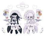 2girls alternate_costume artist_name black_dress black_eyes black_hair black_vs_white boots bow bowtie btmr_game domino_mask dress english_text enmaided fang food garter_straps hair_ribbon heart highres holding holding_tray ice_cream long_hair maid maid_headdress mask multiple_girls open_mouth pointy_ears ribbon simple_background splatoon_(series) striped striped_neckwear tentacle_hair thigh-highs tray white_background white_dress white_eyes white_footwear white_hair white_legwear