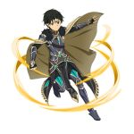 1boy armored_boots bangs black_eyes black_footwear black_gloves black_hair black_pants boots breastplate brown_cape cape closed_mouth cosplay_request fingerless_gloves fur_cape gloves hair_between_eyes highres kirito_(sao-alo) looking_at_viewer male_focus official_art pants pointy_ears short_hair solo sword_art_online sword_art_online:_memory_defrag thigh-highs thigh_boots transparent_background