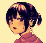 1girl :d blush earrings freckles jewelry looking_at_viewer nise_(basilsis) open_mouth original ponytail portrait purple_hair short_hair simple_background smile solo violet_eyes yellow_background