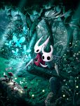 bench bug butterfly cloak egg firefly flying grass highres hollow_knight hornet_(hollow_knight) insect knight_(hollow_knight) mushroom nature no_humans paper shell sinsin719 sitting sunlight tree