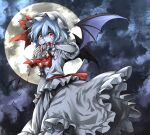 1girl absurdres ascot bat bat_wings blood bloody_clothes bloody_hands brooch commentary_request dark_background flat_chest frilled_shirt frilled_skirt frills full_moon hair_between_eyes hat highres jewelry looking_at_viewer mob_cap moon night puffy_short_sleeves puffy_sleeves purple_hair red_eyes red_neckwear remilia_scarlet shimoda_masaya shirt short_hair short_sleeves skirt solo touhou white_headwear white_shirt white_skirt wings wrist_cuffs