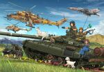 aircraft airplane akm bm-21 brown_eyes brown_hair caterpillar_tracks clouds combat_webbing dog flower gloves goggles goggles_on_head ground_vehicle hat hatch helicopter highres horse jet mi-24 mi-8 mig-21 mikeran_(mikelan) military military_uniform military_vehicle missile missile_pod motor_vehicle mountain original red_star sky smoke_grenade_launcher t-72 tank uniform