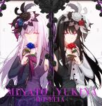 alternate_eye_color bang_dream! black_flower black_hair black_rose blue_flower blue_rose character_name closed_mouth dress feathers flower hair_flower hair_ornament highres light_purple_hair long_hair looking_to_the_side minato_yukina red_flower rose walluku white_flower white_rose yellow_eyes