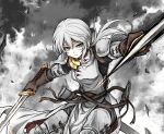 1girl absurdres armor bangs brown_gloves bruise bruise_on_face cape chainmail commentary_request debris dual_wielding fighting_stance gloves grey_background grey_cape grey_eyes grey_hair grey_shirt hair_between_eyes highres holding holding_weapon injury leg_armor long_hair scabbard sheath shimoda_masaya shirt shoulder_armor solo sword two-sided_cape two-sided_fabric vahren_tuga weapon