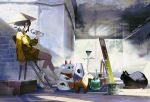 1girl animal ankle_boots bare_legs black_cat black_hair blonde_hair boots bottle cat chair folding_chair from_side hat highres kouka_(mrakano5456) long_sleeves looking_away maneki-neko original rice_hat short_hair sitting solo sunlight toy vase water_bottle white_footwear