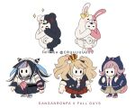 animal_costume artist_name bangs bear_costume bear_hair_ornament black_hair black_skirt brown_skirt bunny_costume commentary copyright_name cosplay criis-chan crossover crown danganronpa danganronpa_1 diaper english_commentary enoshima_junko enoshima_junko_(cosplay) fall_guy fall_guys hair_ornament holding_strap hood hooded_jacket jacket long_hair long_sleeves mioda_ibuki mioda_ibuki_(cosplay) mismatched_legwear monokuma monomi_(danganronpa) multicolored_hair nanami_chiaki nanami_chiaki_(cosplay) necktie pink_hair red_skirt school_uniform shirt skirt super_danganronpa_2 white_hair white_shirt