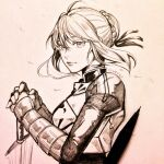 1girl ahoge armor armored_dress artoria_pendragon_(all) braid braided_bun breastplate clivenzu closed_mouth commentary english_commentary fate/stay_night fate_(series) floating_hair from_side gauntlets graphite_(medium) hair_bun hands_up highres juliet_sleeves long_sleeves looking_at_viewer looking_to_the_side mechanical_pencil pencil photo_(medium) puffy_sleeves saber sidelocks signature smile solo traditional_media upper_body