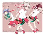3girls animal_ears bandana blush bunny-shaped_pupils carrot_hair_ornament diamond_(gemstone) diamond_pickaxe food_themed_hair_ornament grey_eyes grey_hair gym_shirt gym_shorts gym_uniform hair_between_eyes hair_ornament hololive houshou_marine lion_ears lion_girl long_hair looking_at_viewer meatloaf minecraft multiple_girls pickaxe rabbit_girl red_eyes redhead shirt shishiro_botan shorts solo sports_festival usada_pekora virtual_youtuber