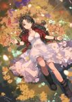 1girl aerith_gainsborough artist_name boots bracelet brown_footwear brown_hair ciloranko cropped_jacket dress final_fantasy final_fantasy_vii flower from_above full_body green_eyes hair_ribbon hand_up highres jacket jewelry knee_up long_hair looking_at_viewer lying necklace on_back pink_dress pink_ribbon red_jacket ribbon short_sleeves