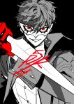 1boy amamiya_ren bangs black_background black_coat black_hair btmr_game coat copyright_name dagger gloves hair_between_eyes holding holding_weapon long_sleeves male_focus mask persona persona_5 persona_5_the_royal red_eyes red_gloves signature simple_background sketch solo upper_body weapon