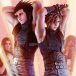 2boys 2girls aerith_gainsborough armpits arms_behind_head aroused belt black_hair blonde_hair blue_eyes breasts cloud_strife covering_face final_fantasy final_fantasy_vii final_fantasy_vii_remake gloves green_eyes hair_ribbon hands_up heart highres long_hair multiple_boys multiple_girls muscle name_tag pose ria_(baka-neearts) ribbon scar scar_on_face shy sparkle spiky_hair spotlight tifa_lockhart uniform zack_fair