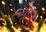 1girl absurdly_long_hair absurdres armband baggy_pants bamboo bamboo_forest bangs blurry blurry_foreground bow burning burnt burnt_clothes buttons clip_studio_paint_(medium) closed_mouth collared_shirt embers eyebrows_visible_through_hair eyes_visible_through_hair fire floating_hair forest fujiwara_no_mokou full_body hair_bow hair_ribbon hand_in_pocket hand_up highres kashiwagi_(pixiv35005989) light_smile long_hair long_sleeves looking_at_viewer moon motion_blur multiple_hair_bows nature night open_clothes open_fly open_pants outdoors pants parted_bangs red_eyes red_pants ribbon shirt shoes silver_hair solo standing suspenders torn_clothes torn_shirt touhou very_long_hair white_shirt wing_collar