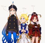 1girl 2boys aqua_eyes benienma_(fate/grand_order) blonde_hair blue_eyes captain_nemo_(fate/grand_order) epaulettes fate/grand_order fate_(series) feather_trim long_coat multiple_boys pspsno_pan red_eyes redhead shorts size_comparison sparkling_eyes turban twintails voyager_(fate/requiem)