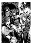2boys 3girls animal_ears armor bangs border bracelet braid braided_ponytail breastplate bruise bruise_on_face clenched_teeth elbow_gloves fan glass_(tate_no_yuusha_no_nariagari) gloves greyscale hair_over_shoulder highres holding holding_fan holding_scythe injury iwatani_naofumi jewelry l'arc_berg_sickle long_hair minami_seira monochrome multiple_boys multiple_girls novel_illustration official_art open_mouth outside_border pants ponytail raccoon_ears raccoon_girl raphtalia scythe shoulder_armor split_screen sweatdrop swept_bangs tate_no_yuusha_no_nariagari teeth therese_alexanderite twintails white_border