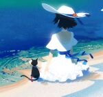 1girl barefoot beach bell bell_collar black_hair blue_ribbon blue_theme cat choker cluseller collar commentary day dress english_commentary engrish_commentary flower from_behind hat hat_flower hat_ribbon jingle_bell ocean original outdoors partially_submerged red_flower red_ribbon ribbon sand sash short_hair short_sleeves sitting soaking_feet solo sun_hat tail tail_ribbon water white_choker white_dress white_headwear
